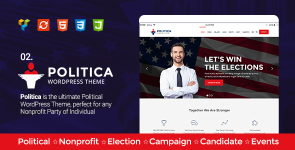 Politica v1.6 — A Modern Political Party & Candidate Theme