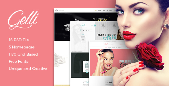 Gelli — PSD Template For Jewelry / Perfume / Accessories Online Shop