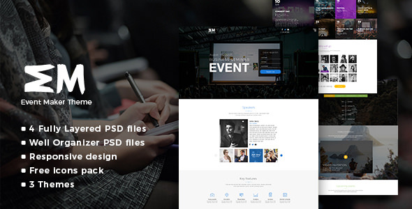 Event Maker — Events, Meetings & Seminars PSD Template