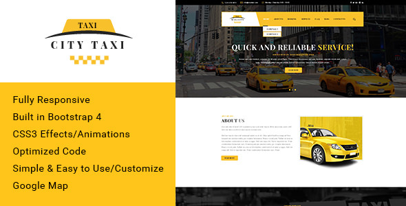 Citytaxi — Bootstrap 4 HTML Template for Taxi