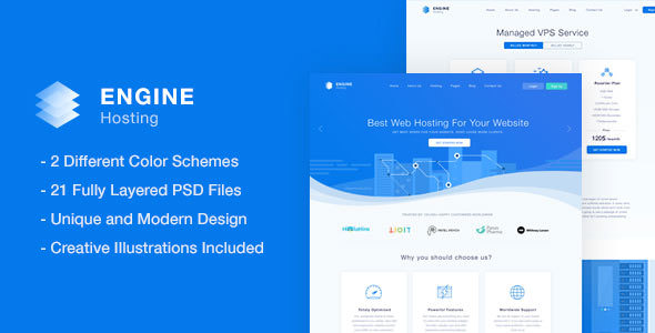Engine Hosting — PSD Template