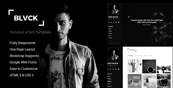 Blvck — Personal vCard & Resume Template