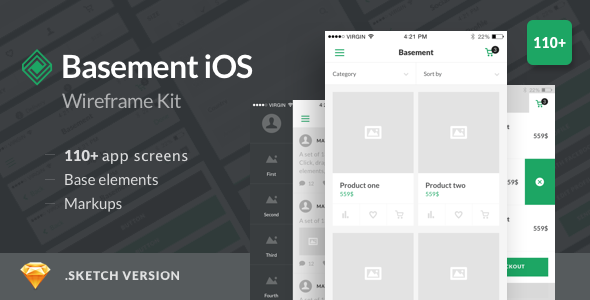 Basement iOS Wireframe Kit — 110+ App Screens for Sketch