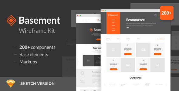 Basement Wireframe Kit — 200+ Components for Sketch