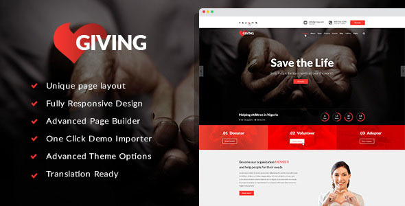 Giving v1.0.2 — NGO/Charity/Fundraising WordPress Theme