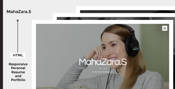 MahaZara.S v1.0 — HTML Personal Resume and Portfolio