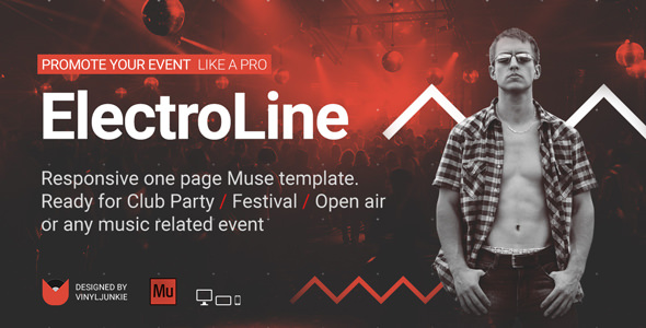 ElectroLine — One Page Event Promo Muse Template