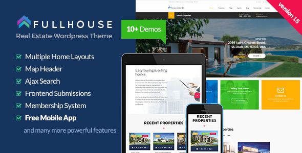 FullHouse v1.8.1 — Real Estate Responsive WordPress Theme