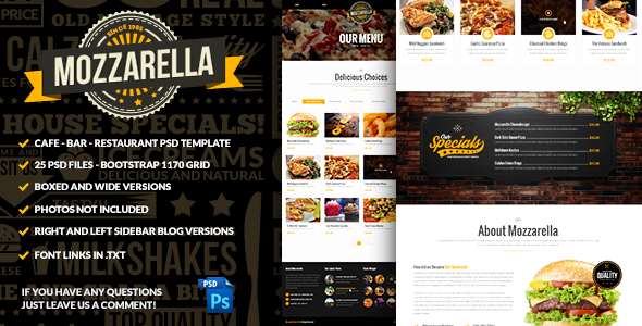 Mozzarella — Cafe Bar PSD Template