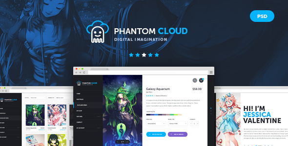 Phantom Cloud — Digital Artist Merchandising Shop PSD Template