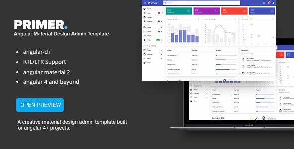 Primer v2.0 — Angular 5 Material Design Admin Template