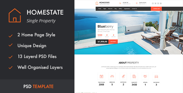 HOMESTATE — Single Property Real Estate PSD Template