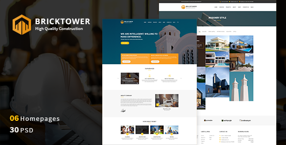 Bricktower v1.0 — Construction Business, Building Company PSD Template