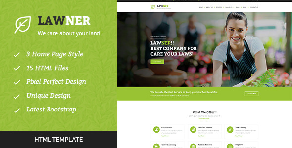 Lawner — Gardening and Landscaping HTML Template