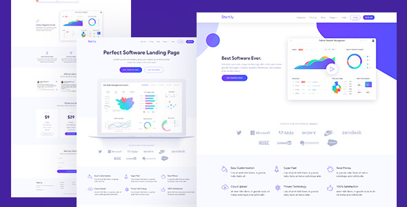 Startly — Software & SaaS App Landing Page Template