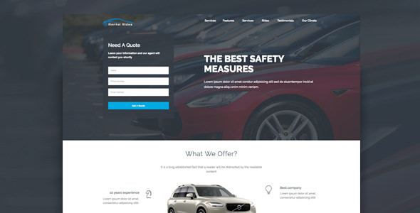 Rental Rides — Unbounce Landing Page