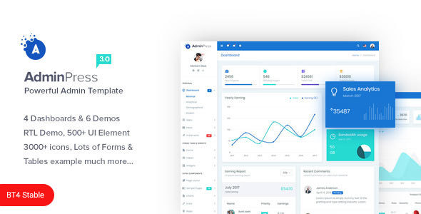 Admin Press v3.0 — The Ultimate & Powerful Bootstrap 4 Admin Template