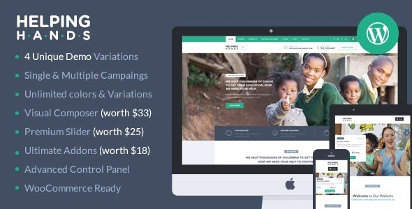 HelpingHands v2.5.1 — Charity/Fundraising WordPress Theme