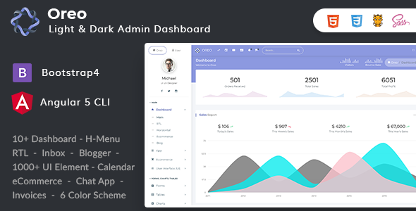 Oreo v1.4.0 — Bootstrap4 Angular 5 Dashboard with Light & Dark Version + UI Kit