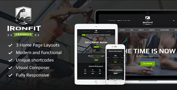 Ironfit v1.3.2 — Fitness, Gym and Crossfit WordPress Theme