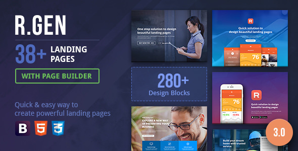 RGen v3.08 — Landing Page with Page Builder