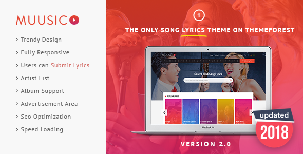Muusico v2.9.3.1 — Song Lyrics WordPress Theme