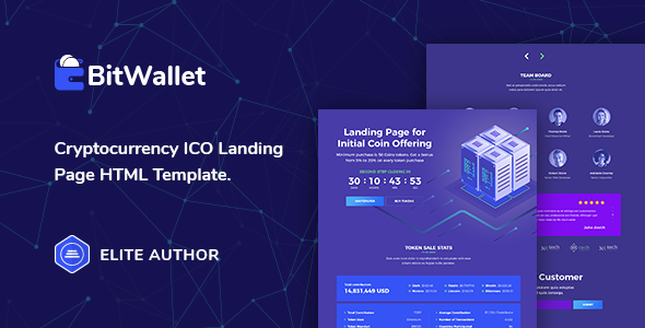BitWallet — Cryptocurrency ICO Landing Page HTML Template