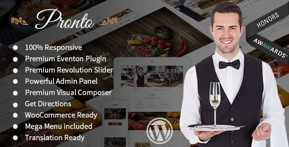 Pronto v1.4.4 — Restaurant & Event WordPress Theme