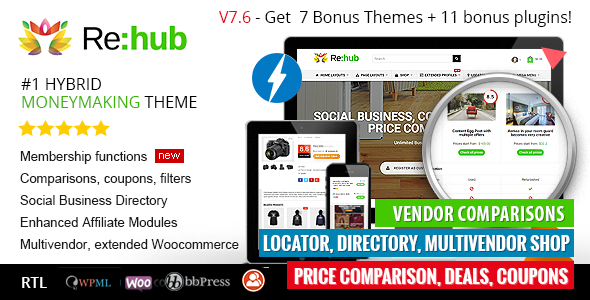REHub v7.6 — Price Comparison, Business Community