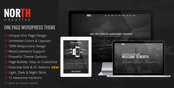 North v3.99.2 — One Page Parallax WordPress Theme