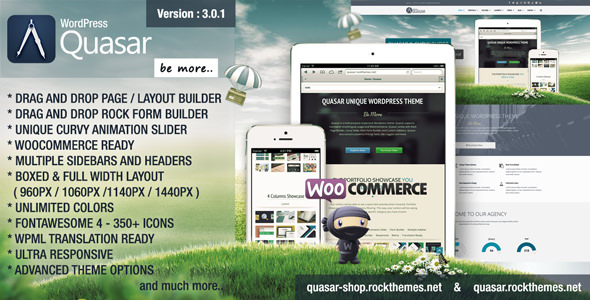 Quasar v3.0.1 — WordPress Theme with Animation Builder