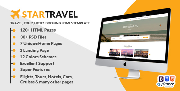 Star Travel — Travel, Tour, Hotel Booking HTML5 Template