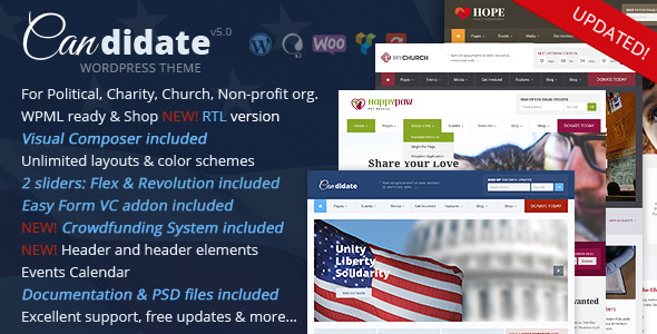 Candidate v5.0 — Political/Nonprofit WordPress Theme