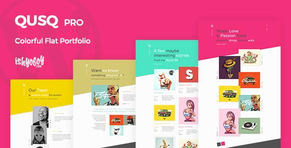Qusq Pro v1.5 — Flat Colorful Portfolio
