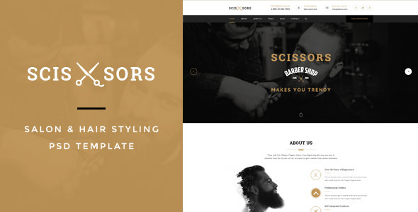 Scissors v1.0 — Salon & Hair Styling PSD Template