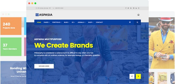 Aspasia v2.0 — Joomlart Responsive Joomla Template for Small Business and Portfolios Sites