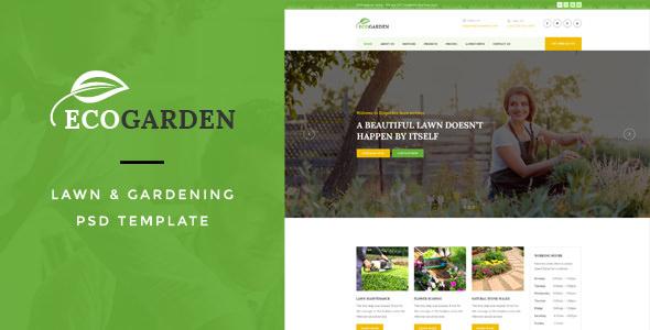 Eco Garden — Lawn & Gardening PSD Template