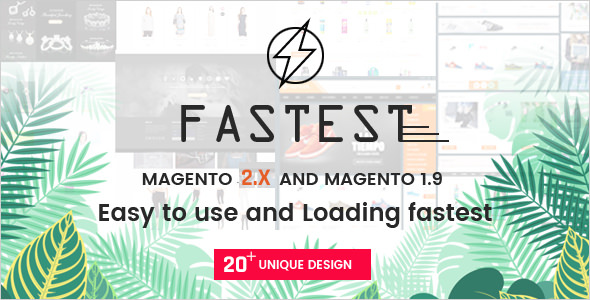 Fastest v2.1.9 — Magento 2 themes & Magento 1. Multipurpose Responsive Theme (20 Home) Shopping, Fashion