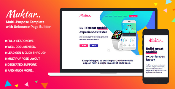 Muktar — Multi-Purpose Template with Unbounce Page Builder