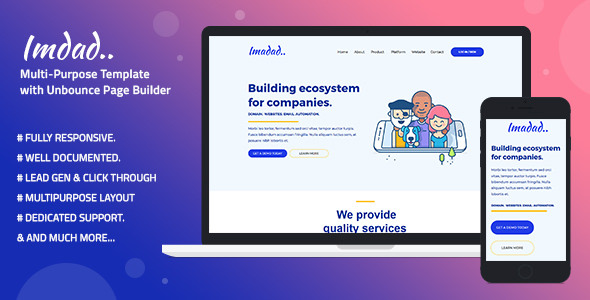 Imadad — Multi-Purpose Template with Unbounce Page Builder