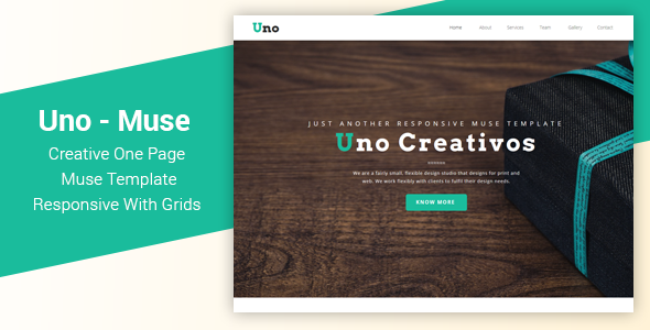 Uno — Responsive One Page Muse Template