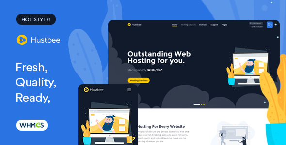 Hustbee — Hosting HTML & WHMCS Template