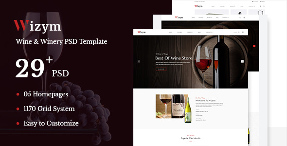 Wizym — Wine & Winery PSD Template