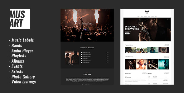 Musart v1.0.1 — Music Label and Artists WordPress Theme