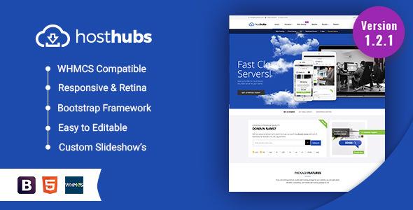 HostHubs v1.6 — Responsive WHMCS Web Hosting, Domain, Technology Site Template