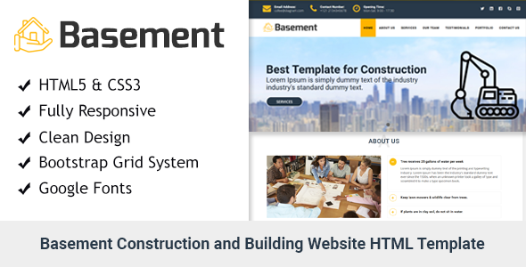 Basement — Construction and Building One Page HTML Template