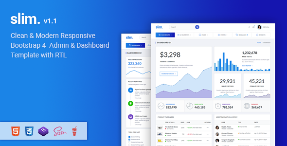 Slim v1.1 — Modern & Clean Responsive Bootstrap 4 Admin Dashboard Template