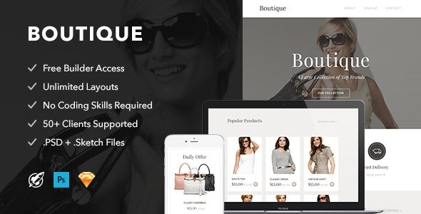 Boutique — Responsive Email + Themebuilder Access