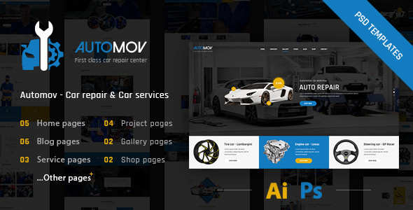 Automov — Car Repair, Auto Car Services PSD Template