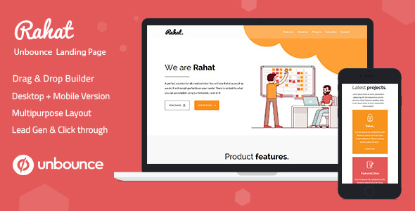 Rahat — Minimal Unbounce Landing Page Template